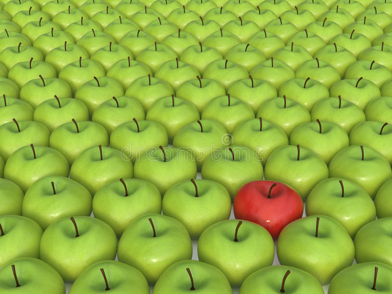 Red apple. Green apples and one red apple royalty free illustration