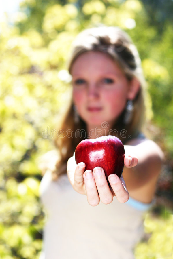 Download Red apple stock photo. Image of blond, female, delicious - 92526
