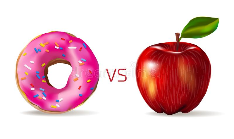 Red apple against sweet pink donut. Vegetarianism and a healthy lifestyle. Junk food vs healthy vector concept template, photo. Realistic illustration. fruit or vector illustration