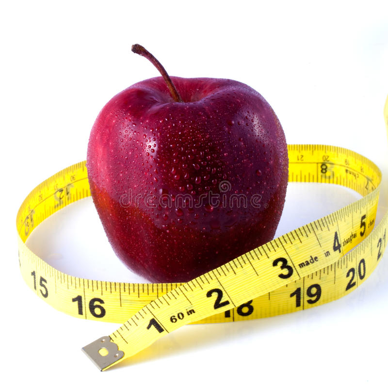 Free Red Apple And Tape Measure Stock Photography - 13782012