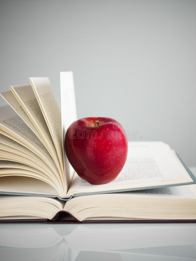 Red Apple On Books Royalty Free Stock Photos