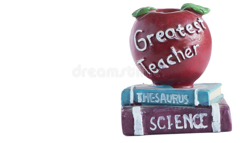 Red Apple on books figurine. Teacher appreciation.  Back to School Concept on white back ground. And copy space royalty free stock image