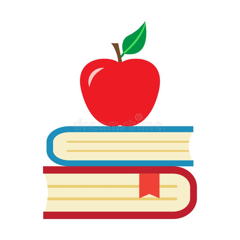 Red apple and books. Vector illustration vector illustration