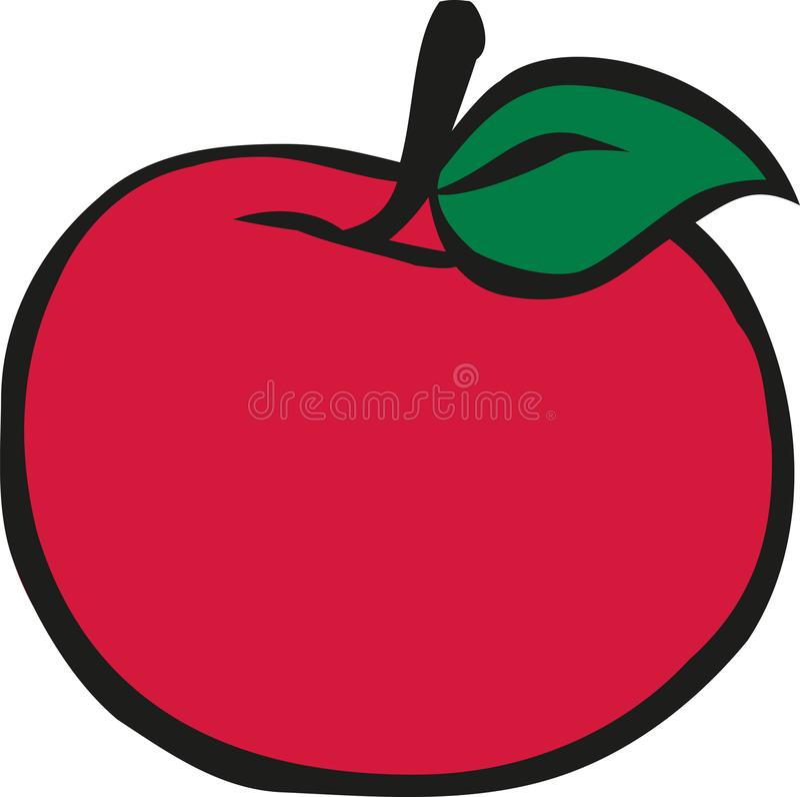Red Apple cartoon style. Vector vector illustration