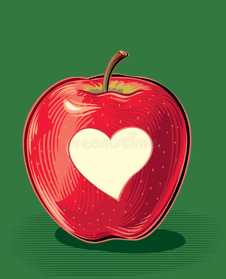 Red apple with carved heart-shaped peel. vector illustration