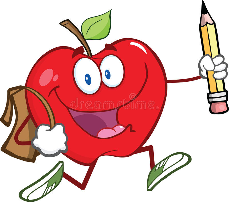 Red Apple Character With School Bag And Pencil Goe royalty free illustration