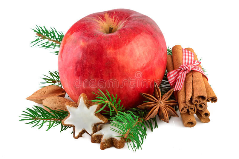 Red apple Christmas decorating farmhouse style rustic still life. Christmas apple with spices on white stock photos