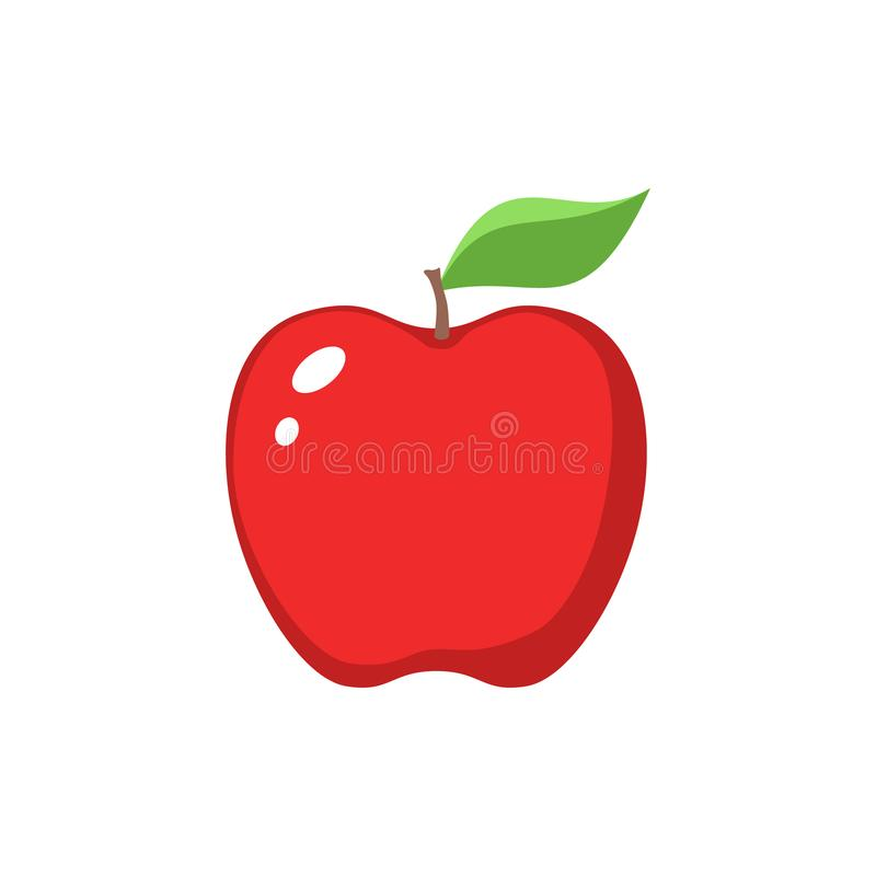 Red apple clipart cartoon. Red apple and a leaf icon. royalty free illustration