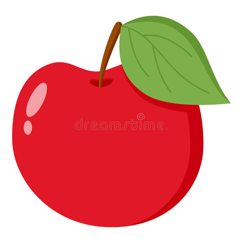 Red Apple Flat Icon Isolated on White. Red apple flat icon with green leaf, isolated on white background. Eps file available vector illustration