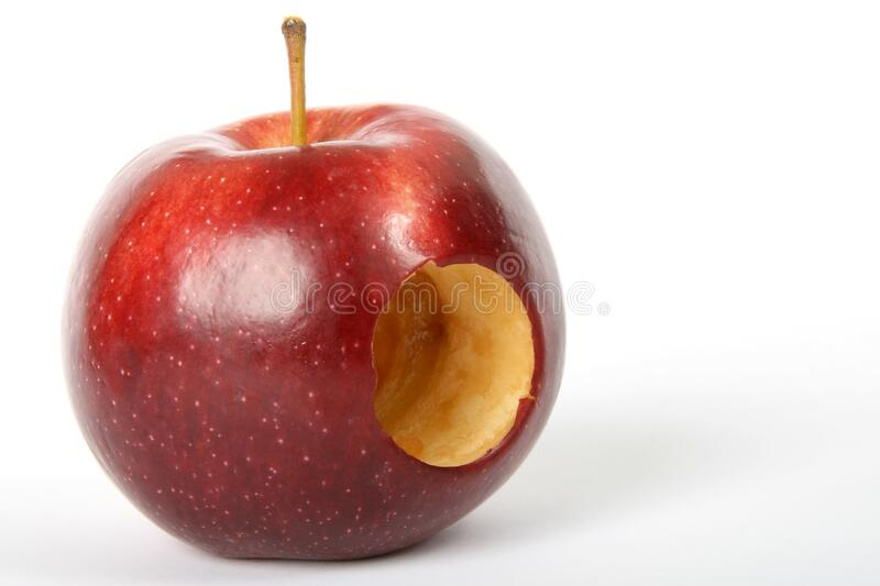 Red Apple Fruit With Hole royalty free stock images