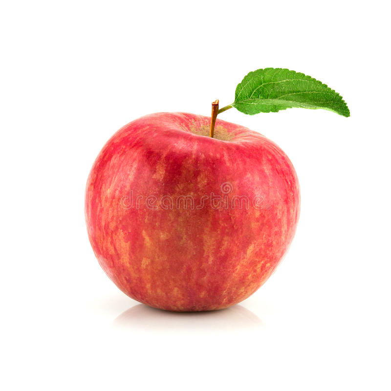 Red apple fruit with leaf. Isolate on white stock photo