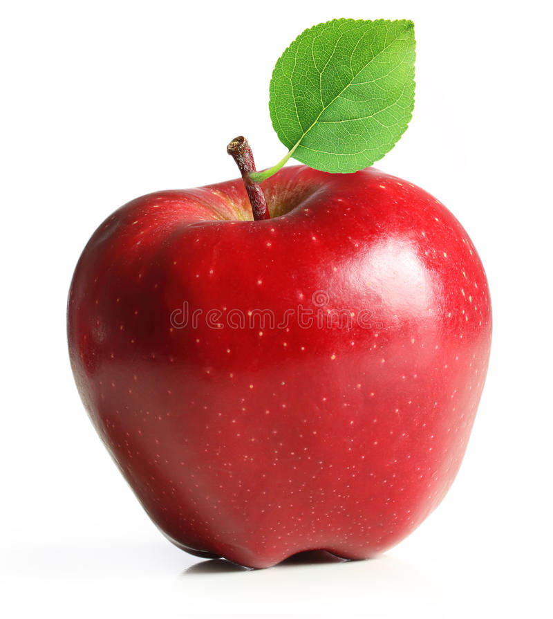 Red apple fruit with leaf stock image. Image of color ...