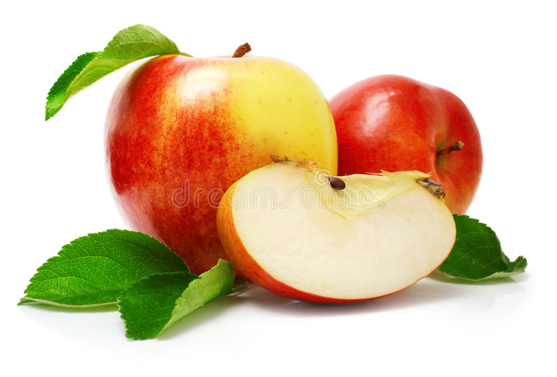 Red apple fruits with cut and green leaves royalty free stock photography