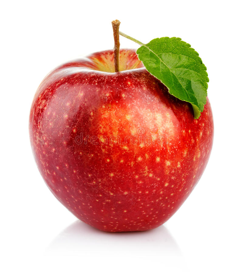 Red apple with green leaf isolated on a white. Background stock photo