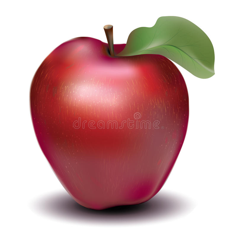 Red apple. With the greenest leaf royalty free illustration