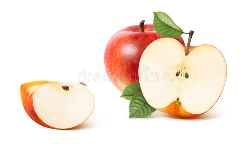 Red apple half and distant quarter isolated on white. Background as package design element royalty free stock images
