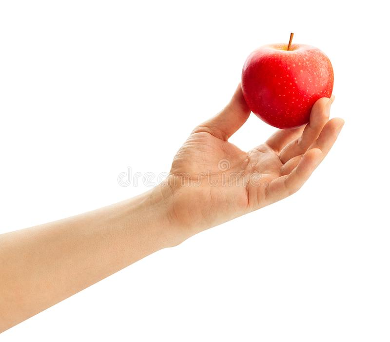 Red apple in hand stock photos