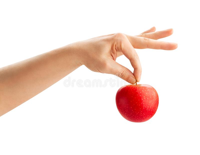 Red apple in hand royalty free stock photos