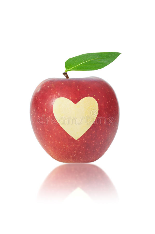Red apple with heart stock photos