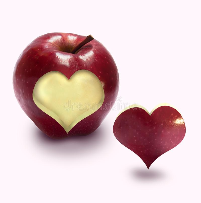 Red apple with heart. apple love royalty free stock photo