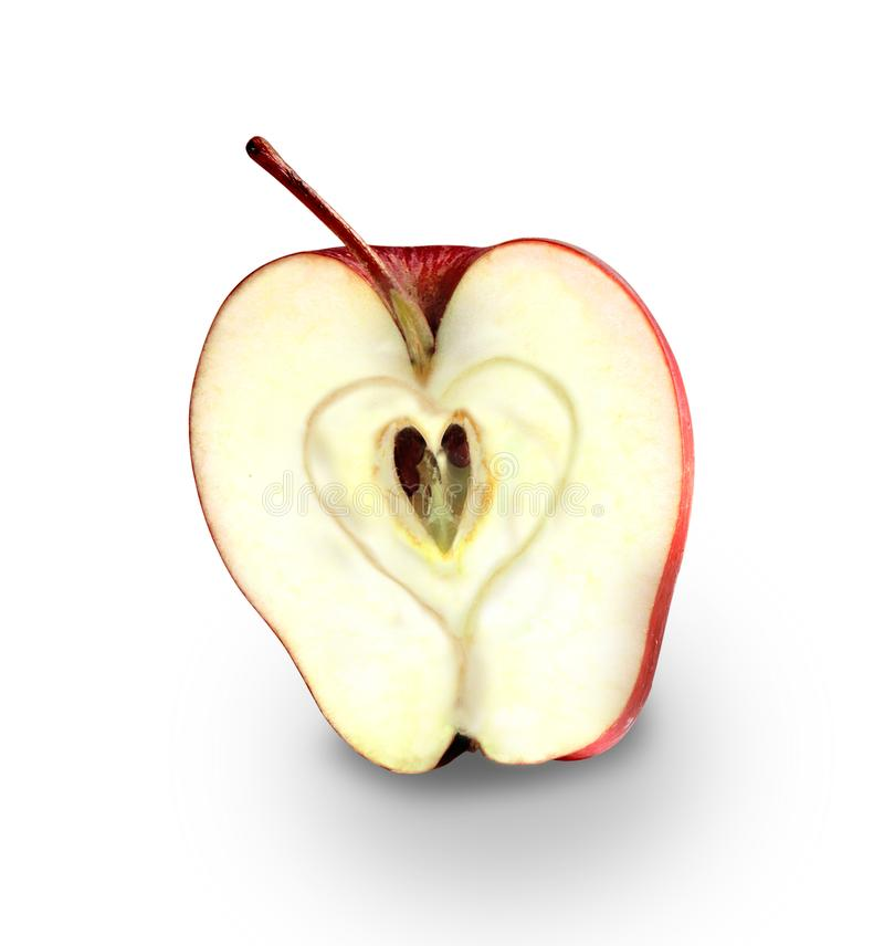Red apple with heart symbol. apple love stock images