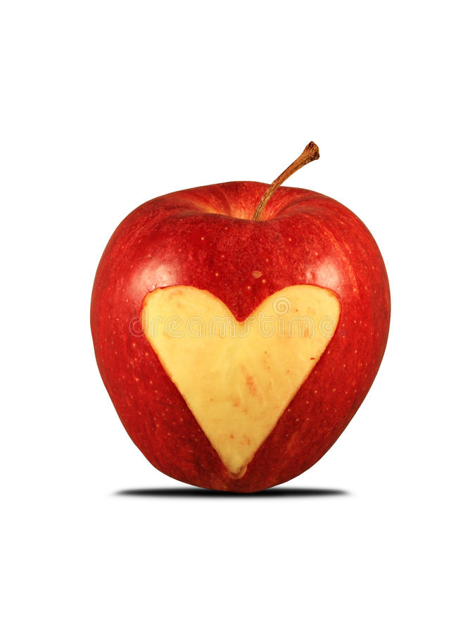 Download Red Apple With A Heart Shape Stock Image - Image: 12509561