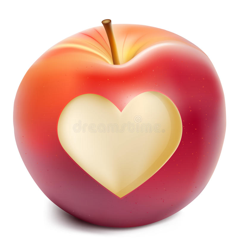 Red apple with a heart symbol royalty free illustration