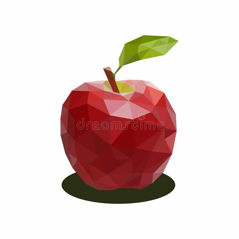 Red Apple, Illustration of Fruit. Polygonal Art. Can be Used for reference learning for students toddlers stock illustration