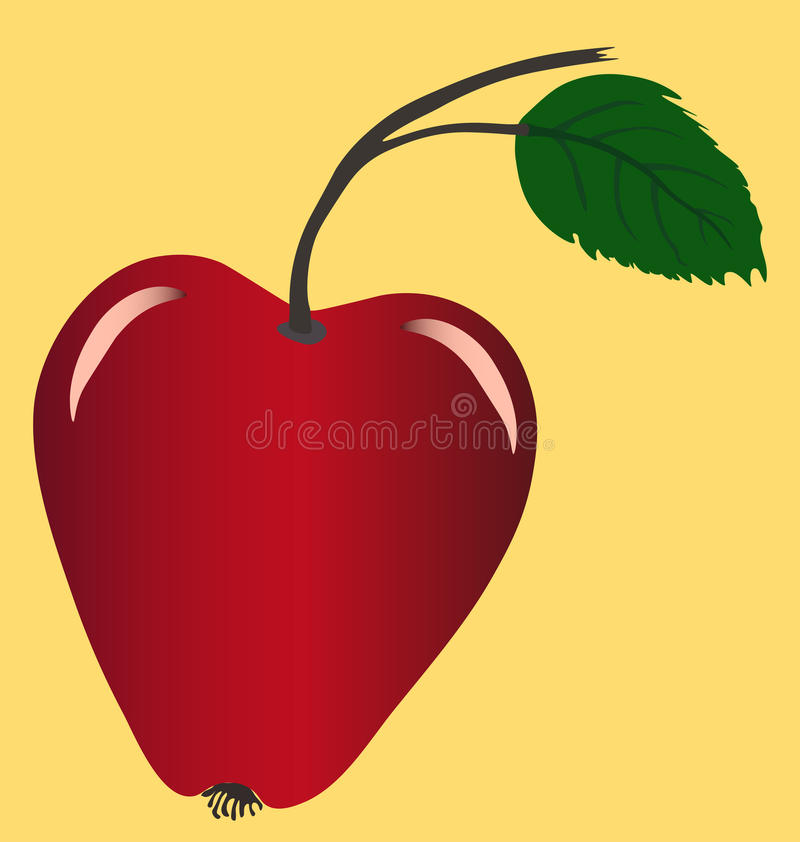 Red apple image. Multicolored vector image of single colorful apple stock illustration