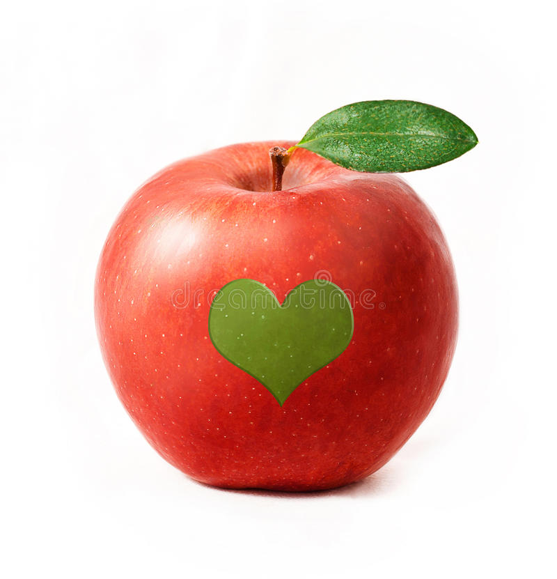 Red apple isolated with heart royalty free stock image