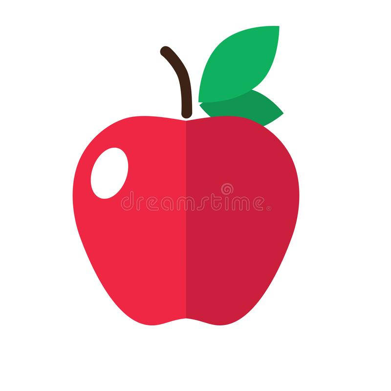 Red apple with a leaf flat vector icon isolated colored. stock images