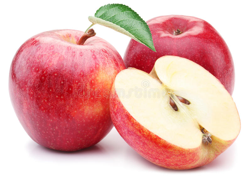 Red apple with leaf and slice. stock image