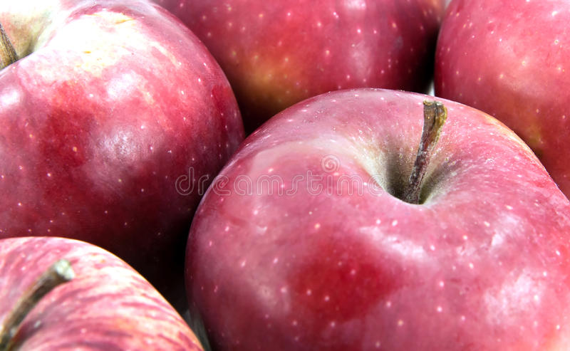Red apple on market. Close up of red apple on market stock photos