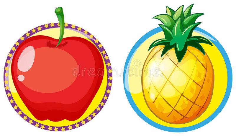 Red apple and pineapple on round badges. Illustration royalty free illustration