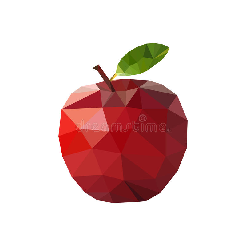 Red apple in polygonal style. Vector illustration stock illustration