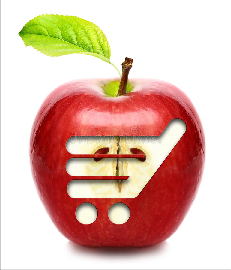 Red apple with shopping cart. royalty free stock image