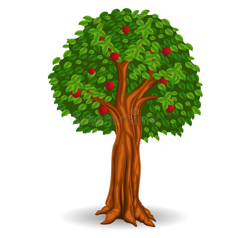 Red apple tree in the field stock illustration
