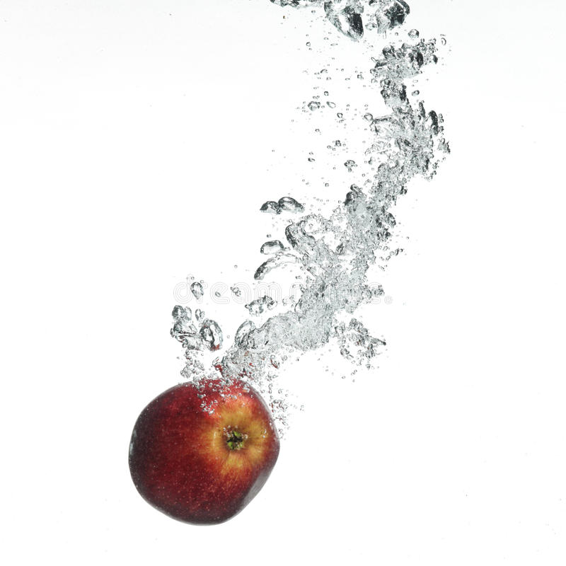 Red Apple Under Water Stock Image