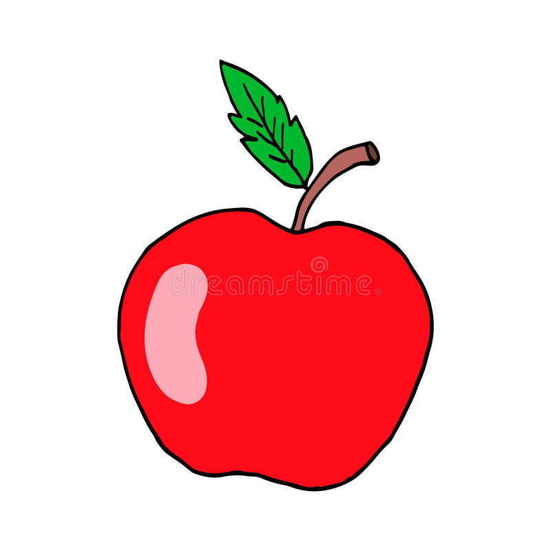 Red Apple. Vector isolated image. The red delicious apple. The whole fruit with leaves and twigs. Vector isolated image on a white background stock illustration