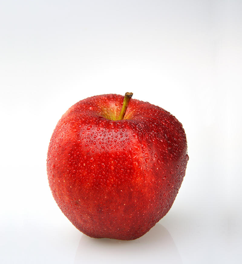 Red apple with water drops. On white background stock photography