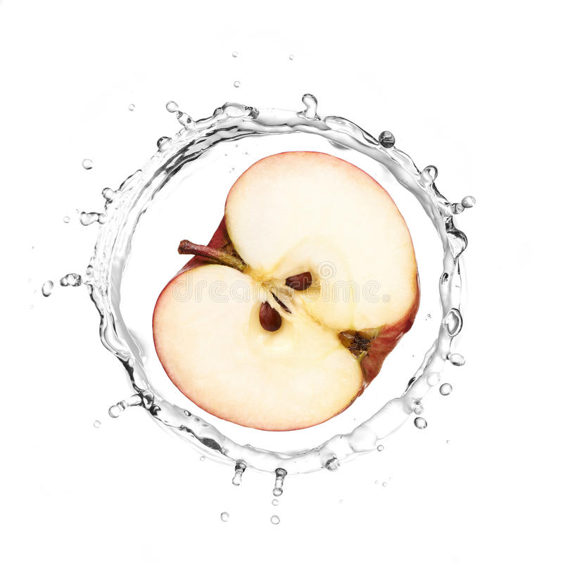 Red apple in water splash royalty free stock photo