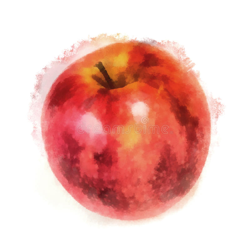Red apple, watercolor painting vector illustration