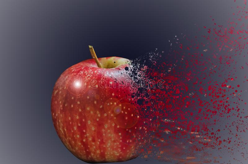 Red apple, which is divided into small particles. In a blue-gray background vector illustration