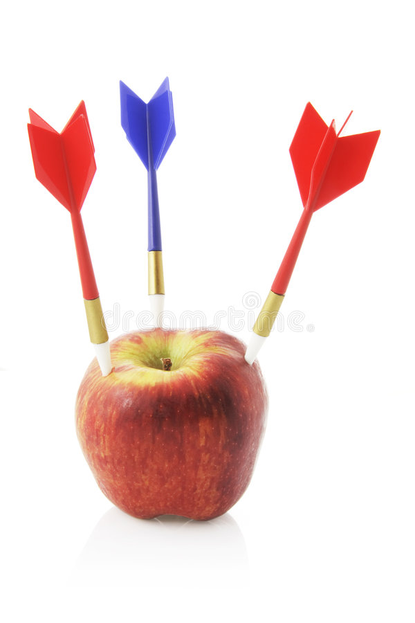 Free Red Apple With Darts Stock Photo - 5108740