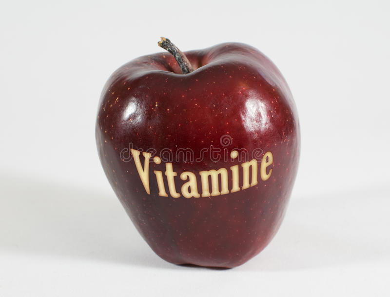 Download Red Apple With The Word - Vitamins - In German Language Stock Photo - Image: 83708762