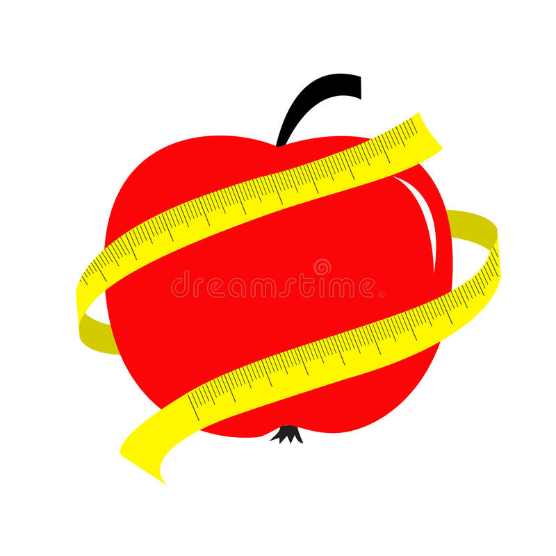 Red apple with yellow measuring tape ruler. Diet concept card. stock illustration