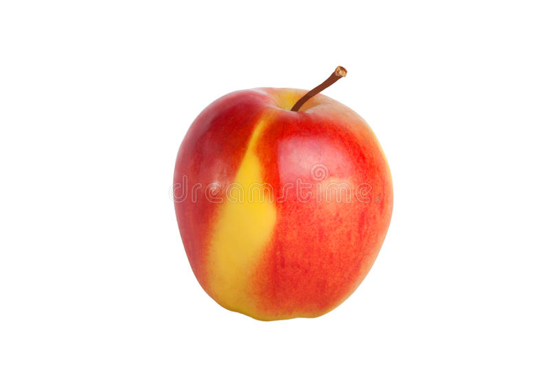 Red apple with yellow side isolated on white background.  stock photography