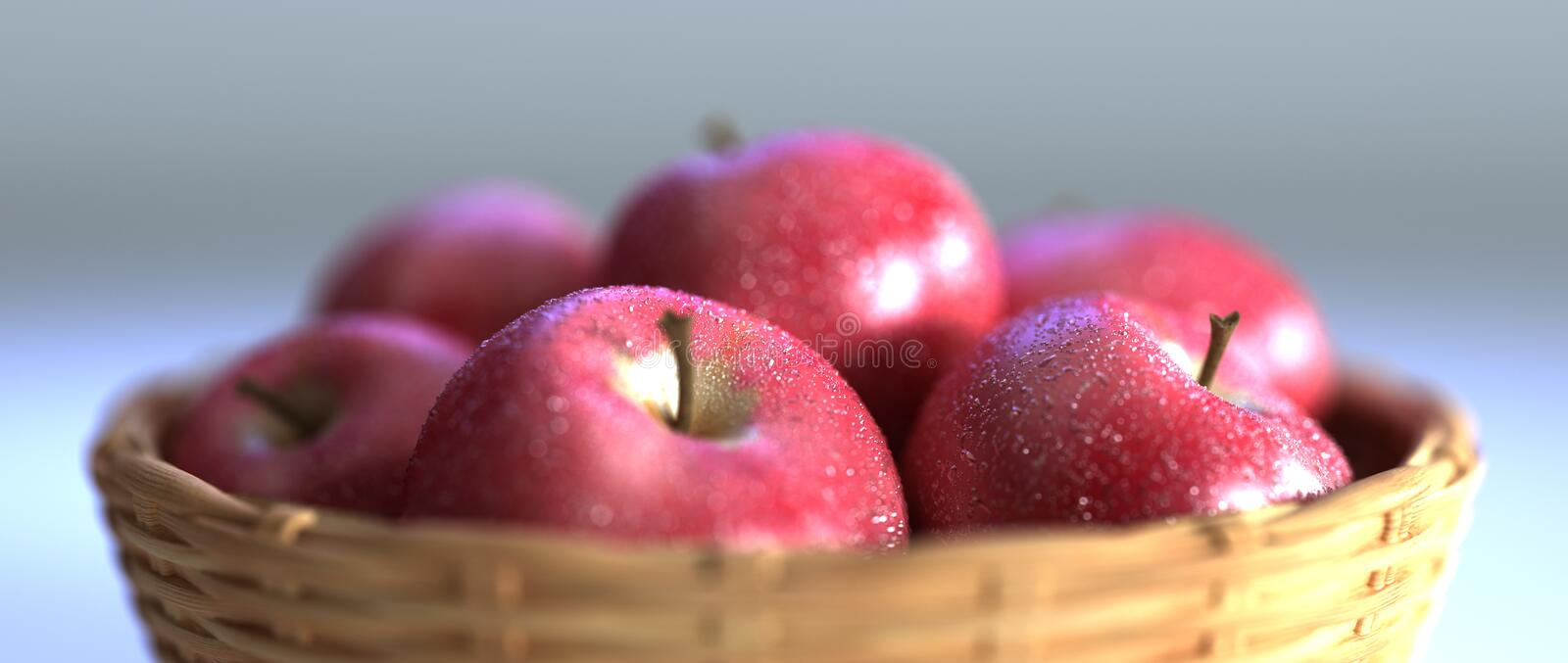 Red apples in basket stock photo