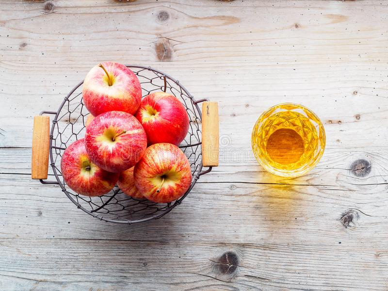 Red apples in a basket, top view royalty free stock photography