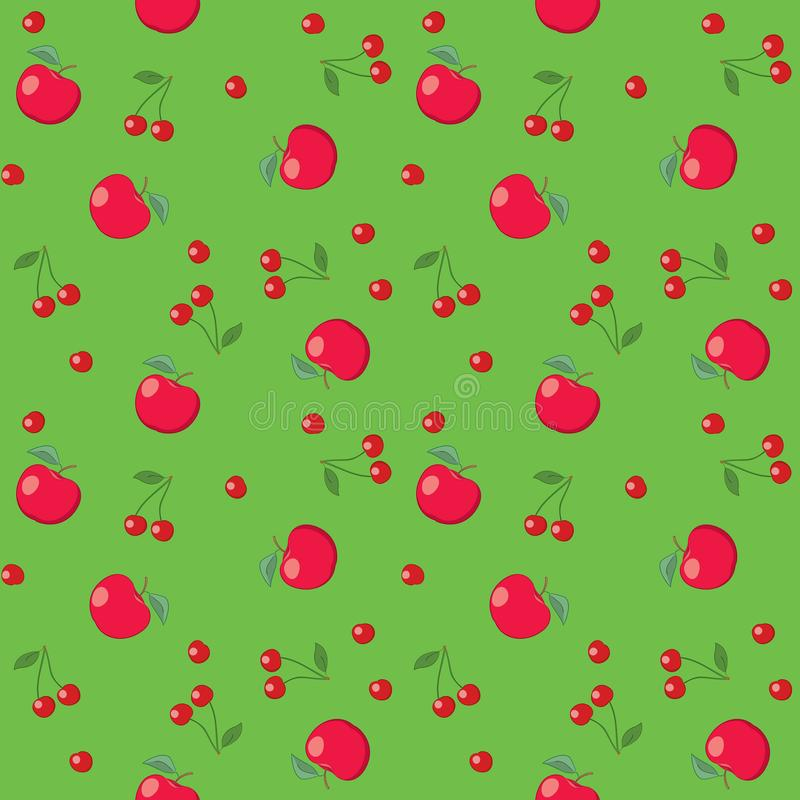 Red apples and cherries on bright green background - seamless stock illustration
